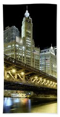 Beach Towel featuring the photograph Wrigley Building At Night by Sebastian Musial