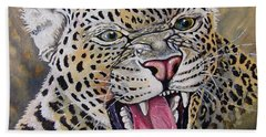 Beach Towel featuring the painting Yawn by Anthony Mwangi
