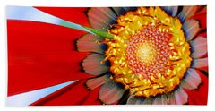 Beach Towel featuring the photograph Zinnia In Red by Wendy Wilton