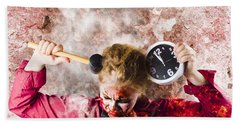 Zombie In Fire Holding Clock. Out Of Time Beach Towel