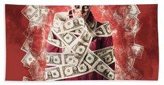 Zombie Tied Up In Financial Debt. Dead Money Beach Towel