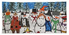 10 Christmas Snowmen  Beach Sheet by Jeffrey Koss