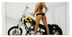 Models And Motorcycles Beach Towel