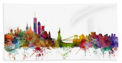 New York Skyline Beach Towel by Michael Tompsett