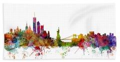 New York Skyline Beach Sheet by Michael Tompsett