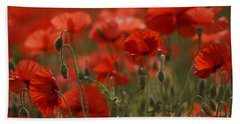 Red Poppy Flowers Beach Towel