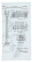 Guitar Patent Drawing On Blue Background Beach Sheet