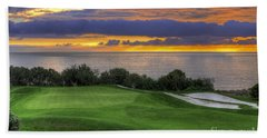 11th Green - Trump National Golf Course Beach Sheet by Eddie Yerkish