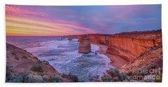 12 Apostles At Sunset Pano Beach Towel