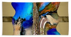 Saxophone Collection Beach Sheet by Marvin Blaine