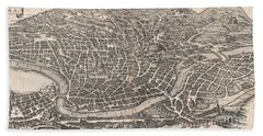 1652 Merian Panoramic View Or Map Of Rome Italy Beach Towel