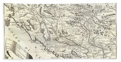 1690 Coronelli Map Of Montenegro Beach Towel
