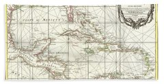 1762 Zannoni Map Of Central America And The West Indies Beach Towel