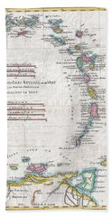 1780 Raynal And Bonne Map Of Antilles Islands Beach Sheet