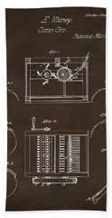 Beach Towel featuring the drawing 1794 Eli Whitney Cotton Gin Patent Espresso by Nikki Marie Smith