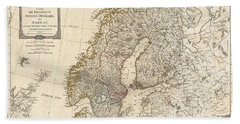 1794 Laurie And Whittle Map Of Norway Sweden Denmark And Finland Beach Towel