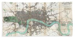 1806 Mogg Pocket Or Case Map Of London Beach Towel