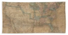 1839 Burr Wall Map Of The United States  Beach Towel
