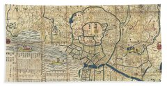 1849 Japanese Map Of Edo Or Tokyo Beach Towel by Paul Fearn