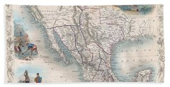 1851 Tallis Map Of Mexico Texas And California  Beach Towel
