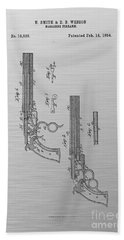 1854 Smith And Wesson Magazine Firearm Patent Art 3 Beach Towel