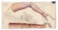 1865 Artificial Limbs Patent Drawing Beach Towel