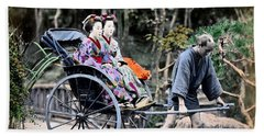 1870 Geisha Girls Traveling In Rickshaw Beach Towel