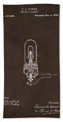 Beach Towel featuring the drawing 1880 Edison Electric Lights Patent Artwork Espresso by Nikki Marie Smith