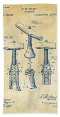 1883 Wine Corckscrew Patent Artwork - Vintage Beach Towel by Nikki Marie Smith