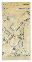 1886 Microscope Patent Artwork - Vintage Beach Towel