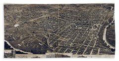 1886 Vintage Map Of Fort Worth Beach Towel