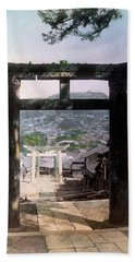 1890 Osuwa Temple Gate Of Nagasaki Japan Beach Towel by Historic Image
