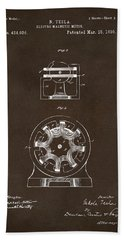 Beach Towel featuring the drawing 1890 Tesla Motor Patent Espresso by Nikki Marie Smith