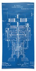 Beach Towel featuring the drawing 1894 Tesla Electric Generator Patent Blueprint by Nikki Marie Smith