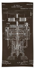Beach Towel featuring the drawing 1894 Tesla Electric Generator Patent Espresso by Nikki Marie Smith