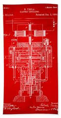 Beach Towel featuring the drawing 1894 Tesla Electric Generator Patent Red by Nikki Marie Smith