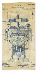 Beach Towel featuring the drawing 1894 Tesla Electric Generator Patent Vintage by Nikki Marie Smith