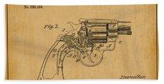 1894 Wesson Revolver Lock Mechanism Patent Art 1 Beach Towel