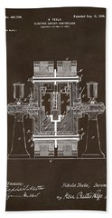 Beach Towel featuring the drawing 1898 Tesla Electric Circuit Patent Artwork Espresso by Nikki Marie Smith