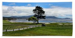 18th At Pebble Beach Panorama Beach Sheet by Judy Vincent