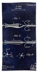 1900 Fishing Hook Patent Drawing Blue Beach Towel