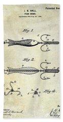 1900 Fishing Hook Patent Drawing Beach Towel