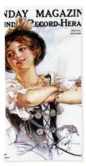 1900s 1913 Smiling German Girl Wearing Beach Towel