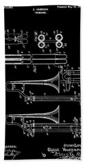1901 Trombone Patent Beach Towel by Dan Sproul
