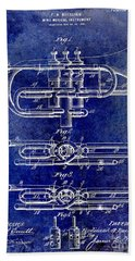 1901 Wind Musical Instrument Patent Drawing Blue Beach Towel