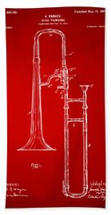 1902 Slide Trombone Patent Artwork Red Beach Sheet by Nikki Marie Smith