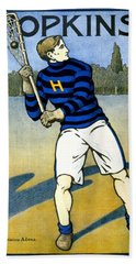1905 - Johns Hopkins University Lacrosse Poster - Color Beach Towel