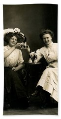 1905 Beer Drinking Girlfriends Beach Towel by Historic Image