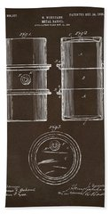 Beach Towel featuring the drawing 1905 Oil Drum Patent Artwork Espresso by Nikki Marie Smith