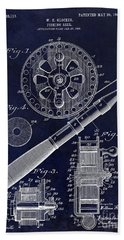 1906 Fishing Reel Patent Drawing Blue Beach Towel by Jon Neidert